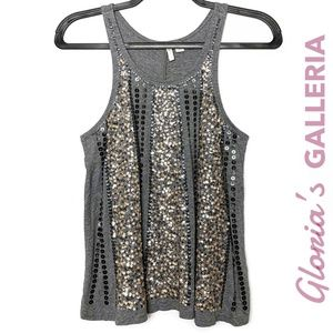 CATO Charcoal sequined tank top, size XS
